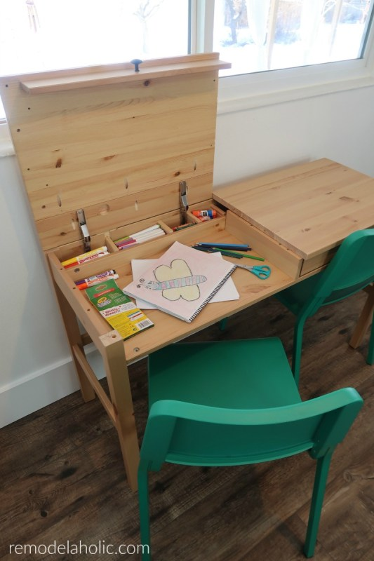 Easy IKEA Hack Desk With Two Hinged Desktop Areas For Kids Arts And Crafts Workstation Using The Wood HEMNES Desk #remodelaholic