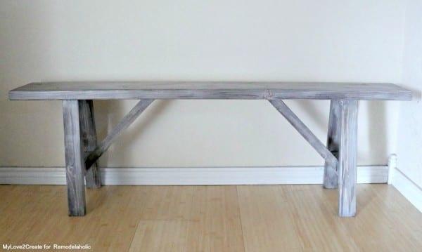 Easy DIY Wood Bench with Farmhouse Angled Legs