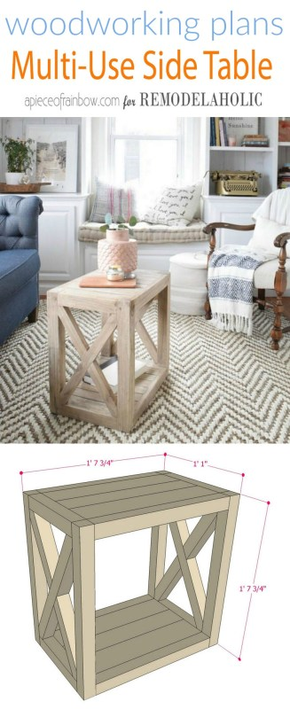 Multi Use DIY Side Table Woodworking Plans, Build A Farmhouse End Table For $20, A Piece Of Rainbow For Remodelaholic