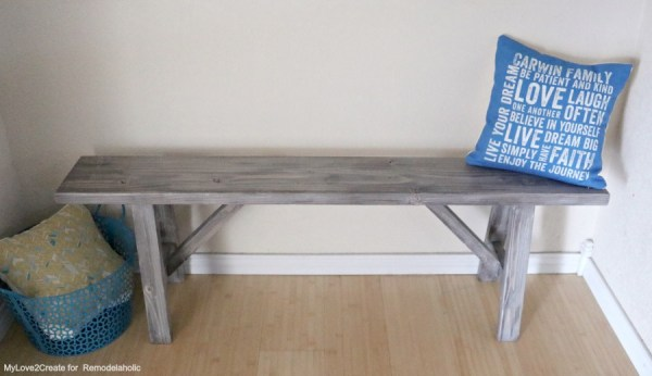 Top Front View Easy DIY Bench, MyLove2Create