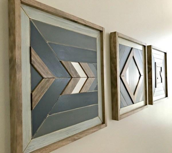 DIY Scrap Wood Wall Quilt Tribal Art Tutorial 14