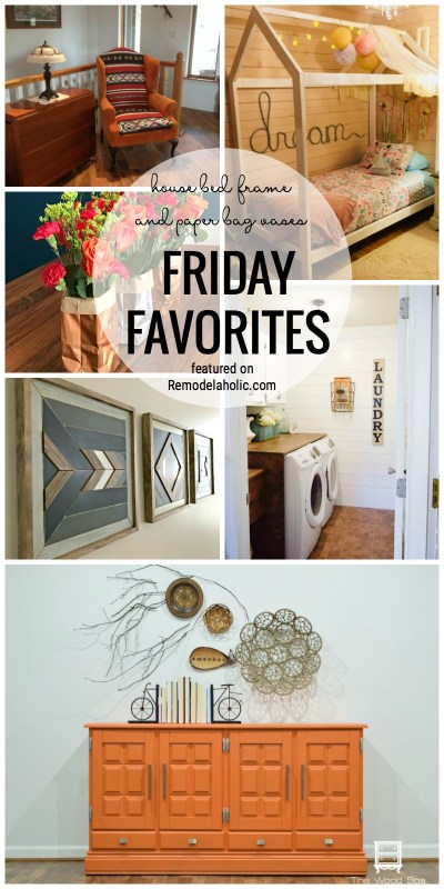 House bed frame and paper bag vases and more for Friday Favorites featured on Remodelaholic.com