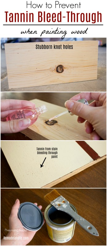 How To Prevent Tannin Bleed Through Painted Wood   Trouble with tanning bleed through on your handmade DIY or refinished furniture? These two easy tips will prevent a spotty finish from ruining your painted wood project. #remodelaholic