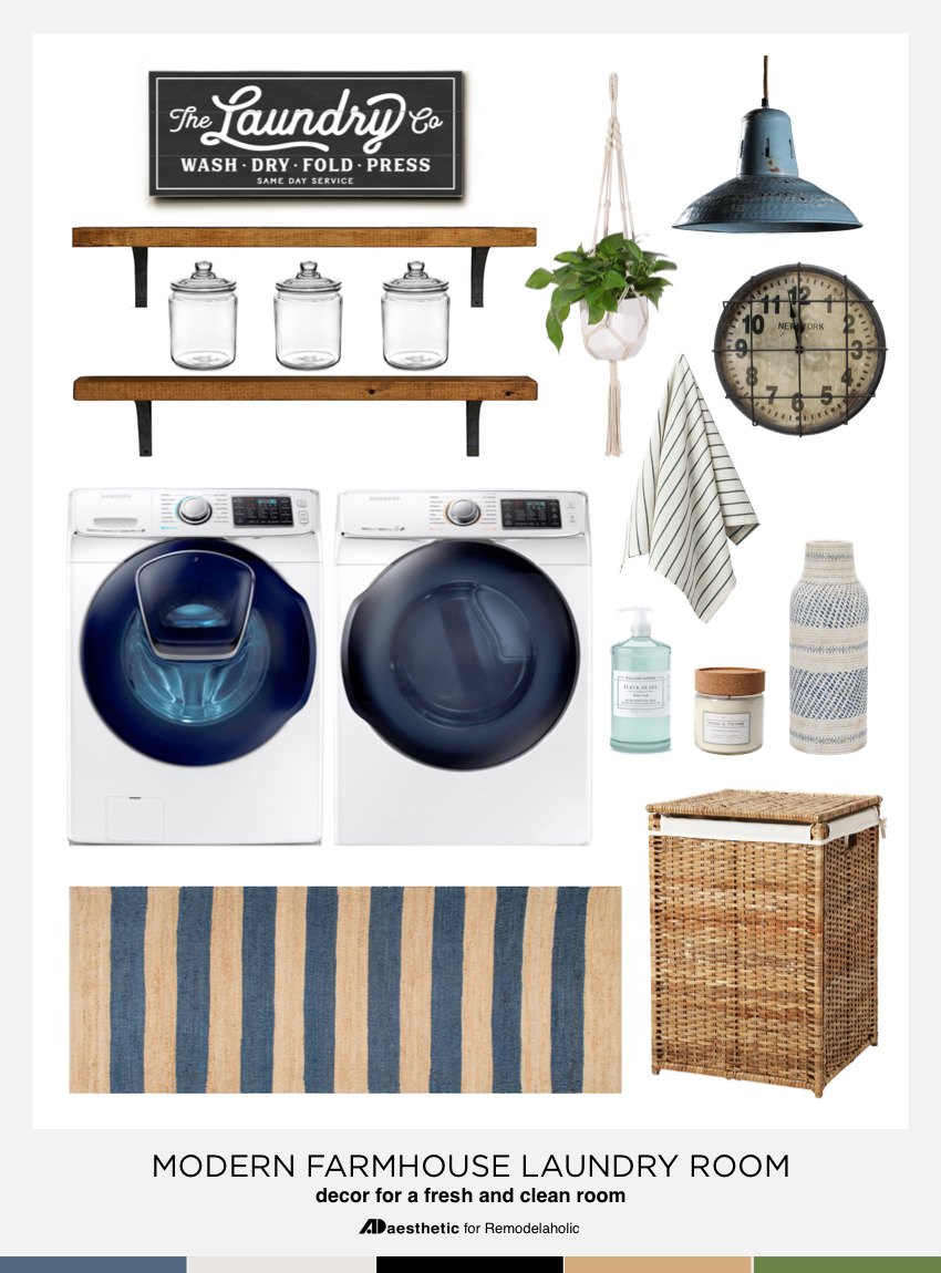 Give your washer and dryer a luxe new space with these easy and affordable modern farmhouse laundry room decorating ideas and tips. #remodelaholic