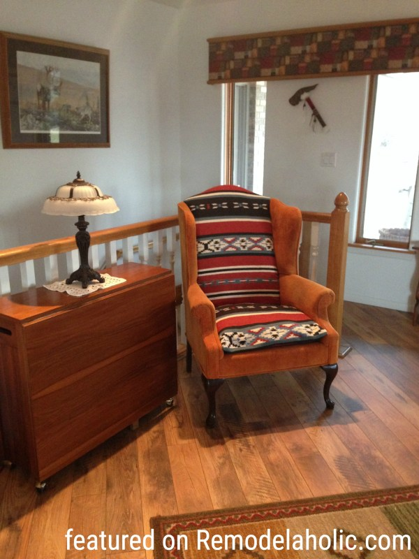 Southwest Style Wingback Chair Makeover Featured On Remodelaholic.com