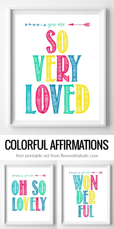 Colorful Affirmation Inspirational Printable Set @Remodelaholic