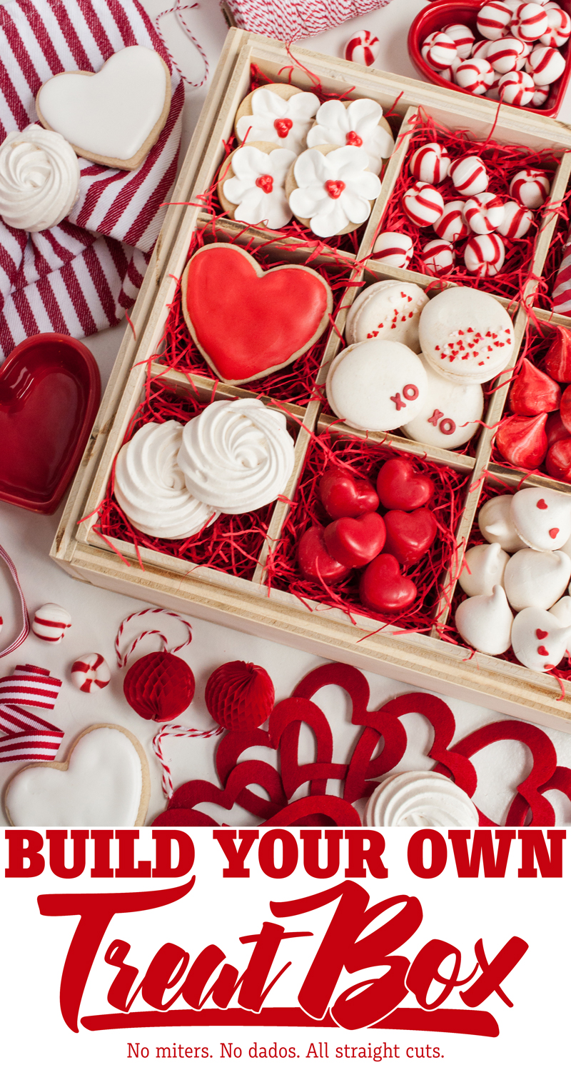 This interchangeable DIY treat box would be perfect for gifting treats for any occasion: Valentine's Day, Christmas, teacher appreciation, birthdays, or just because. Interchangeable inserts make this treat box suitable cakes, pies, cookies, cupcakes, brownies, and more!