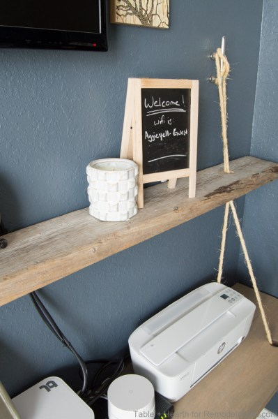 DIY reclaimed wood floating rope shelf tutorial   How to make an easy hanging rope shelves for decor and electronics #remodelaholic