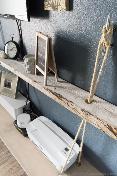 DIY reclaimed wood floating rope shelf tutorial | How to make an easy hanging rope shelves for decor and electronics #remodelaholic