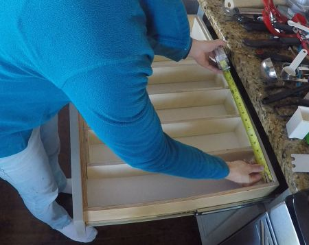 Measuring a drawer to add an organizer