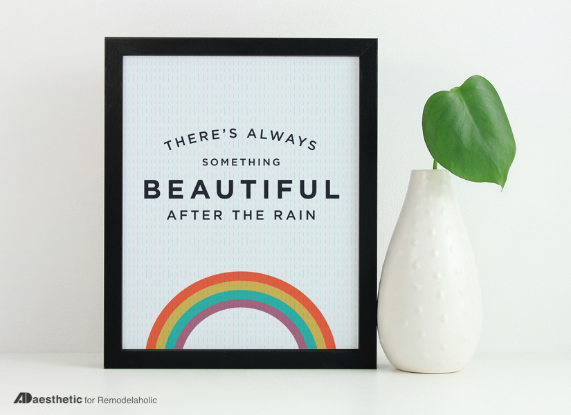 Free Rainbow Printable Graphic: Something Beautiful After The Rain | AD Aesthetic For #Remodelaholic #freeprintableartcollection