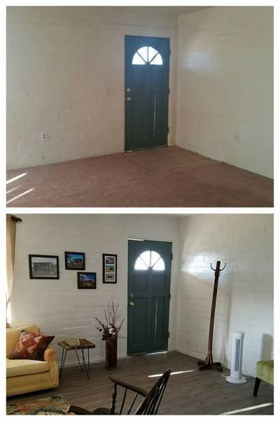 Bridget, Desert Homestead Renovation Living Room Before And After