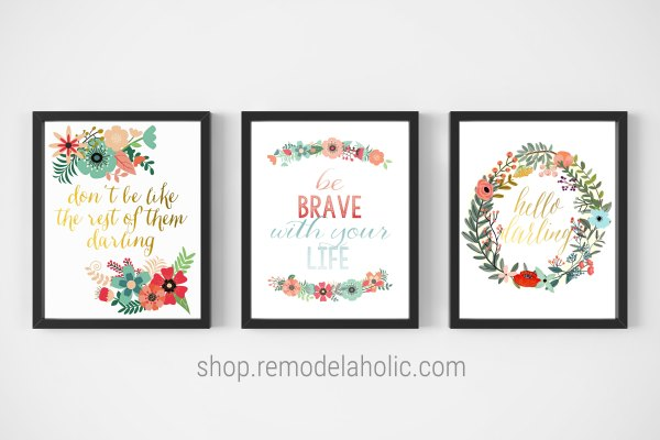 Colorful Floral Printable Set Of Positive Affirmation Sayings #remodelaholic