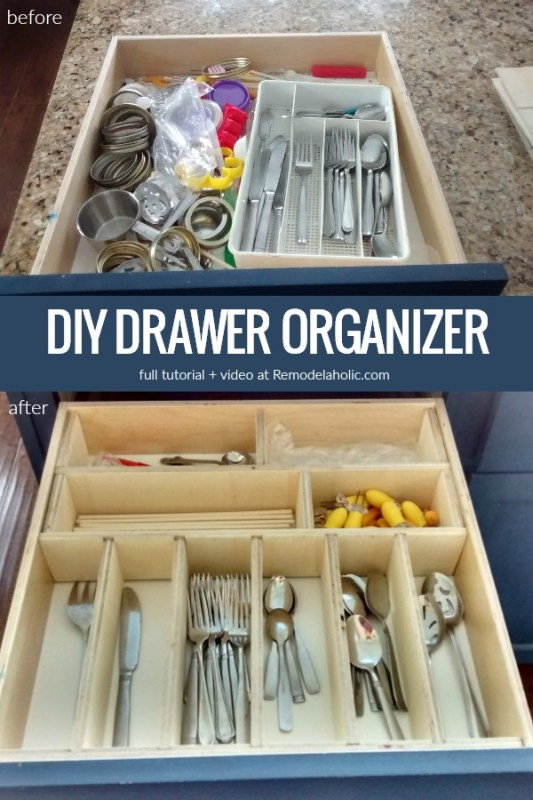 DIY Drawer Organizer With Dividers For Kitchen Utensils And Tools #remodelaholic | Whip your kitchen, bathroom, dresser, or desk drawers into shape with these affordable custom DIY drawer organizers. Adjustable, with no glue or nails, to organize kitchen utensils, clothing, office supplies, or bathroom essentials.