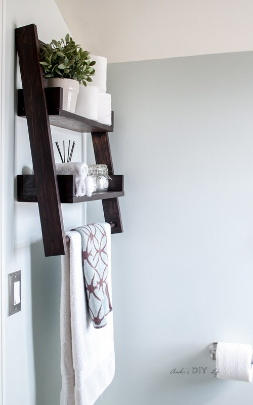 Diy Floating Ladder Shelf For Small Bathroom Storage, Anika's DIY Life