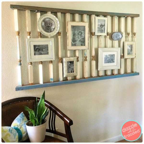 Diy Photo Gallery Wall From An Old Banister, Dazzle While Frazzled
