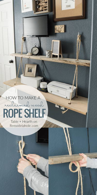 DIY reclaimed wood floating rope shelf tutorial | How to make an easy hanging rope shelf for decor and electronics #remodelaholic