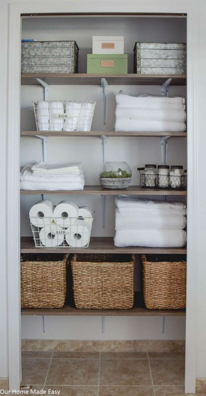 Farmhouse Linen Closet Makeover, Our Home Made Easy