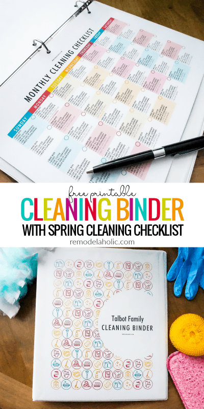 Free Printable Cleaning Binder Set With Kids Chore Chart, Spring Cleaning Checklist, And Daily Weekly Monthly Cleaning Calendars @Remodelaholic