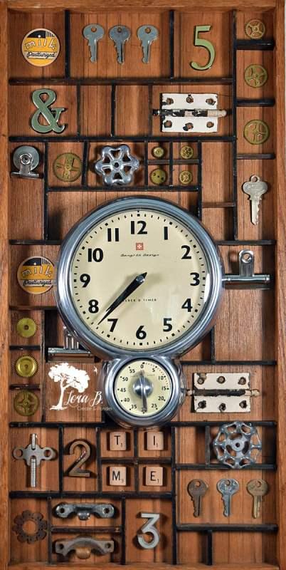 Upcycled Vintage Printer's Box Clock, Lora Bloomquist
