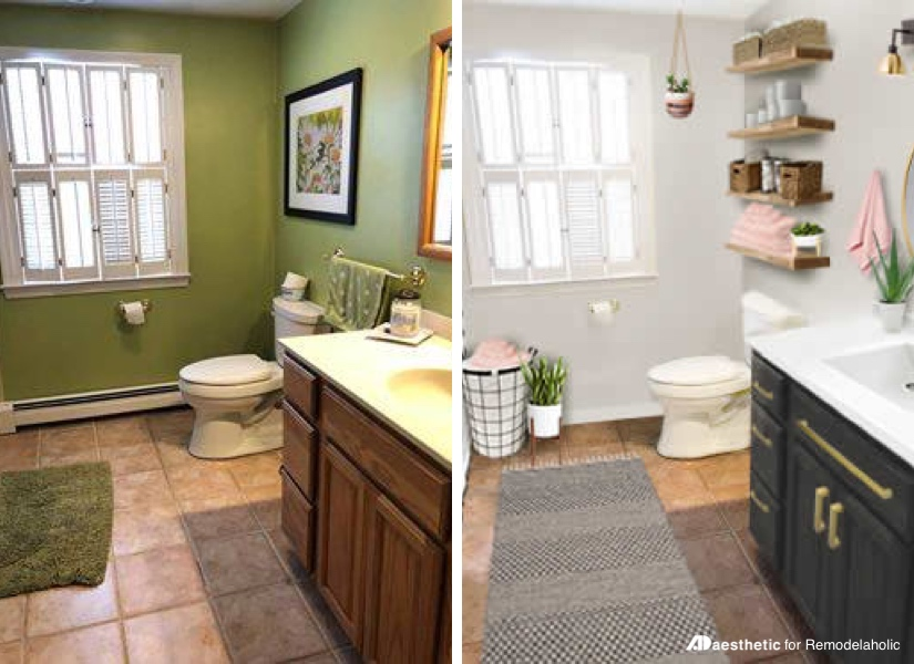 Real Life Rooms: Budget Friendly Bathroom Update | How to update a bathroom on a budget | Tips, ideas, and decor sources for a simple bathroom makeover #remodelaholic #virtualmakeover