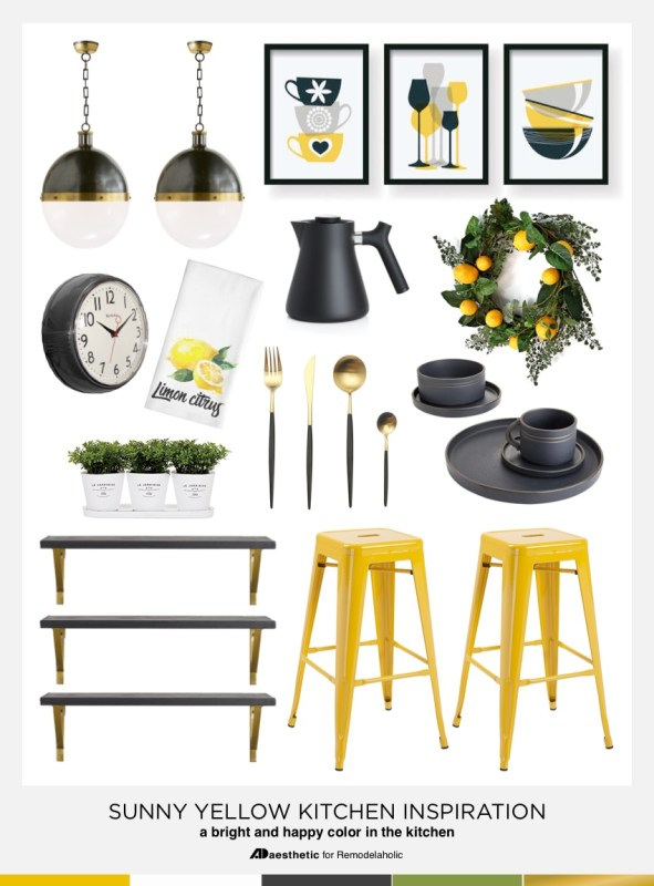 Mood BoardTips for Decorating a Sunny Yellow Kitchen #remodelaholic