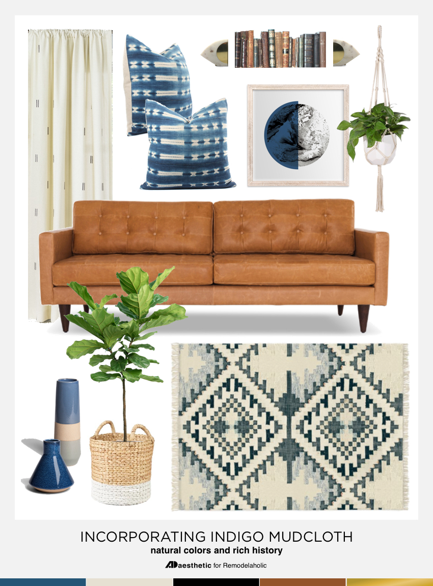 Learn how to add beautiful blue indigo mudcloth to your decor with this comfortable but chic living room mood board decor ideas and product picks. #remodelaholic
