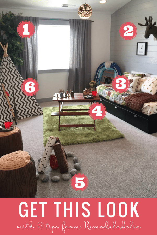 Camping Theme Kids' Bedroom: Decorate a fun outdoorsy camping theme bedroom for your son or daughter with these easy tips and DIYs! #remodelaholic #getthislook