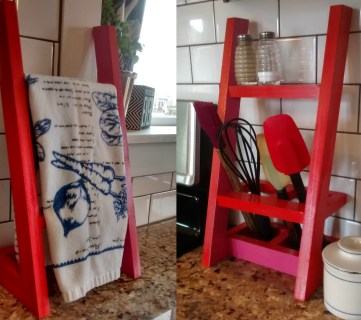 Simple Countertop Towel Ladder and Utensil Organizer