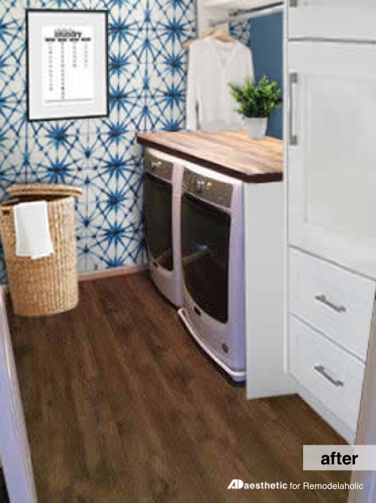 After Digital Makeover | Laundry Room Inspiration | Real Life Rooms: A Simple Laundry Room Update to Add Color and Character #remodelaholic