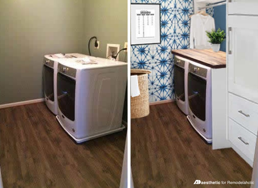 Before and After Virtual Laundry Room Makeover | Laundry Room Inspiration | Real Life Rooms: A Simple Laundry Room Update to Add Color and Character #remodelaholic