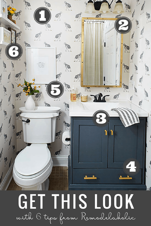 Get This Look: Chic Modern Farmhouse Bathroom | Create a comfortable but modern style powder room with these tips and decor picks for a modern farmhouse bathroom with plenty of character. #remodelaholic