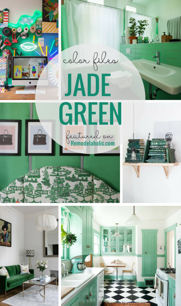 Jade green is a bold and versatile color that's on-trend for 2018 home decorating and paint colors. Try this beautiful gemstone in a dark or light hue in these 7 different unexpected places in your home. #remodelaholic #colorfiles #jadegreen #homedecor #trending