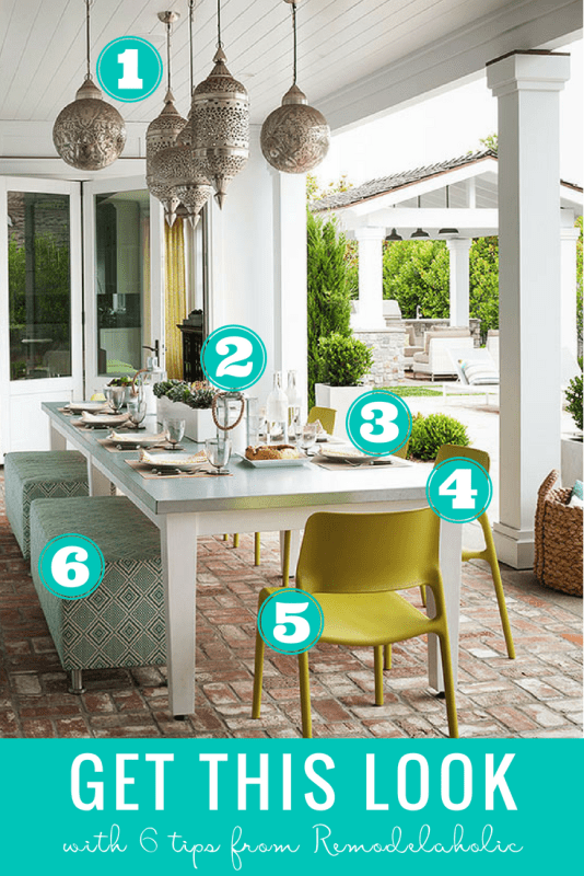 It's summer and time to enjoy the backyard and patio! Redecorate your patio and outdoor dining space with a boho global-inspired style following our tips, DIYs, and decor selections. #remodelaholic #getthislook