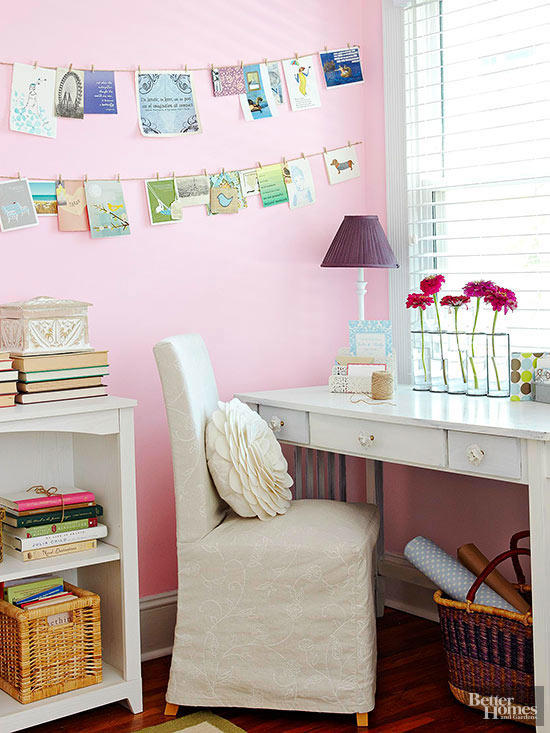 Millennial Pink: How to Decorate and Accent Your Home Decor | Millennial Pink BHG Office featured on #Remodelaholic #colorfiles