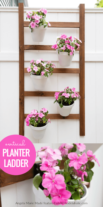 Build an easy indoor or outdoor wall planter ladder to hold terra cotta planters on your fence. This vertical planter is inexpensive to build and doesn't take up any precious patio space. Tutorial from Angela Marie Made featured on #Remodelaholic