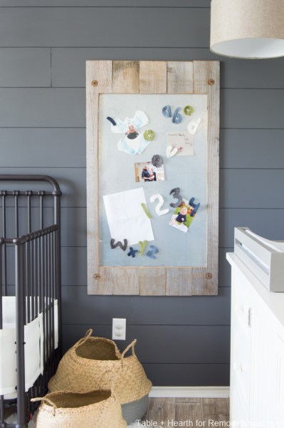DIY Reclaimed Wood Magnet Board | Make an affordable and easy metal magnetic display board for your child's masterpiece gallery art! Perfect for a family message board or calendar, too. #remodelaholic