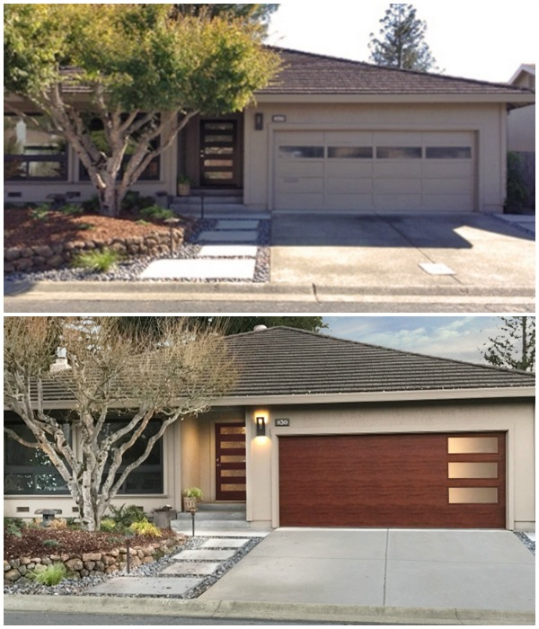 Upgrade Garage Door, Mid Century Curb Appeal To Add Home Value #remodelaholic