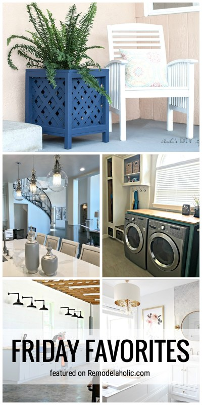 A Dream Workshop, Lattice Planter, Pretty Bathroom And More To Check Out In This Week's Edition Of Friday Favorites Featured On Remodelaholic.com