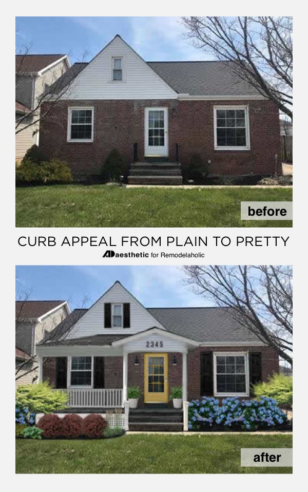 Plain to Pretty Curb Appeal Inspiration | Adding a Porch and Shutters #Remodelaholic #virtualmakeover #curbappeal