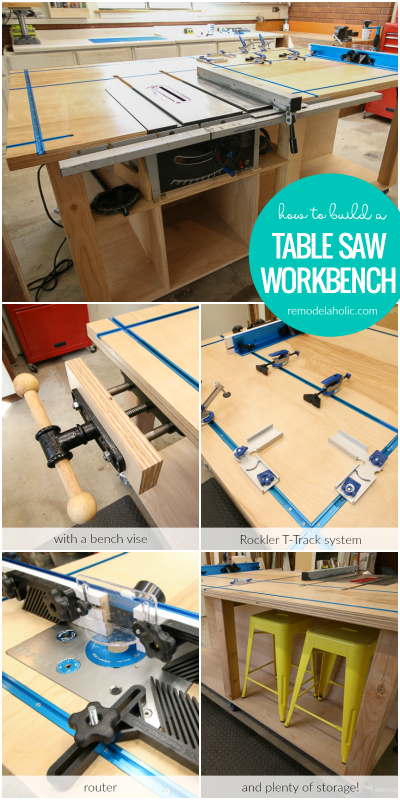 Remodelaholic table saw workbench building plans with rockler t build a table saw workbench with a bench vise rockler t track system router greentooth Gallery