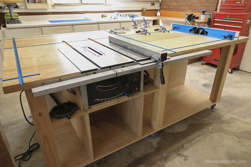 DIY Router Table and Table Saw Workbench Building Plan #remodelaholic