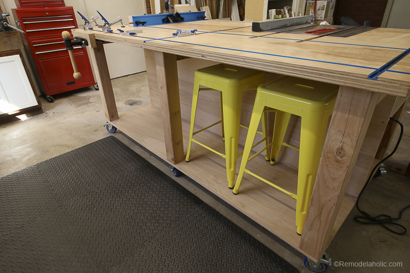 Tool Storage Under the Work Surface | DIY Router Table and Table Saw Workbench Building Plan #remodelaholic