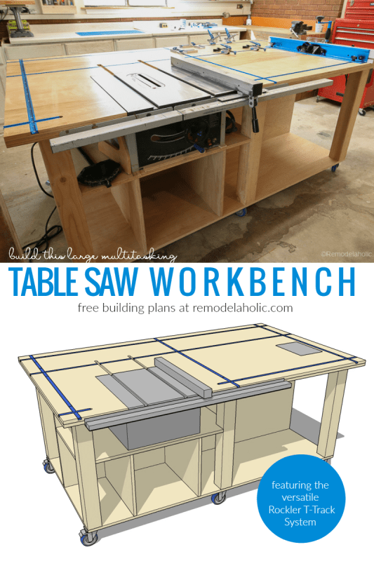 Table Saw Workbench Featuring Rockler T Track System, Free Building Plan And Tutorial #remodelaholic
