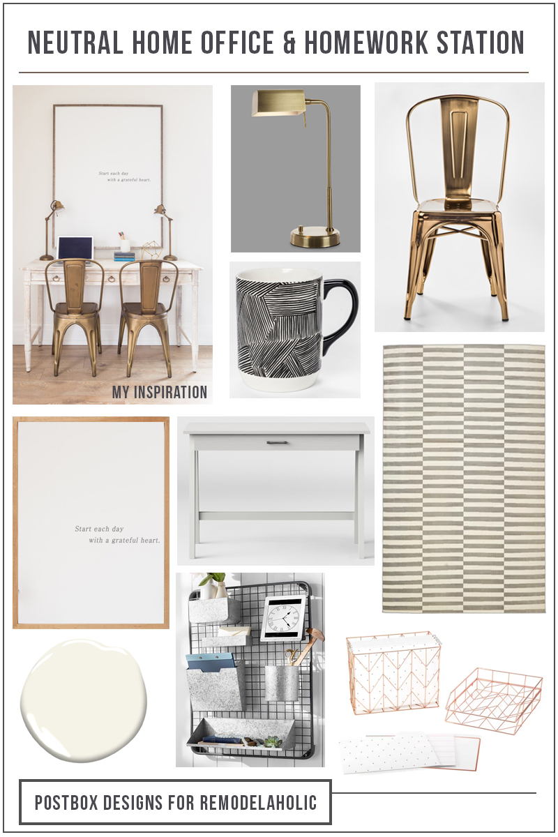 Neutral Home Office and Homework Station | Turn a small space into a stylish and useful neutral homework station with these tips and furniture and organizing picks. Perfect for a child's room, home office, or family room area. Postbox Designs for #Remodelaholic
