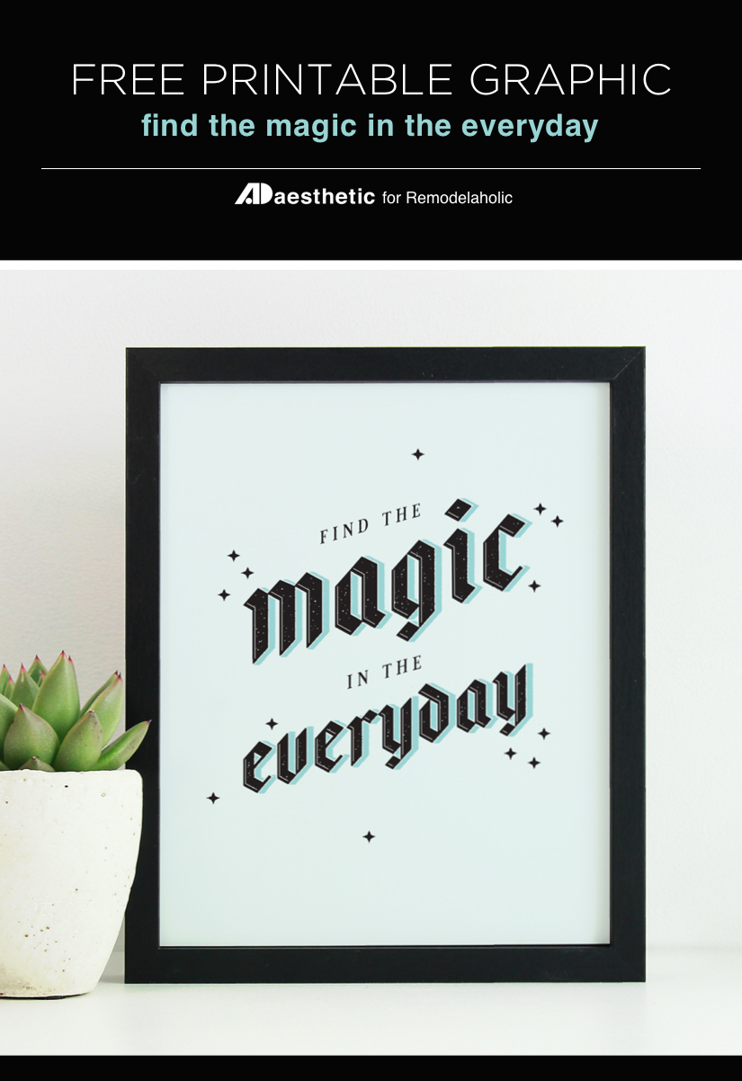 Free Printable: Find The Magic in the Everyday | This sparkly black and aqua printable is perfect for a bit of witchy Halloween decor, or an everyday reminder to seek out the magic in the mundane. By AD Aesthetic for #Remodelaholic | #freeprintableartcollection #magic