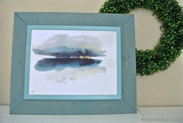 Free Printable Abstract Watercolor Seasons Set In A DIY IKEA Hack Blue Frame #remodelaholic
