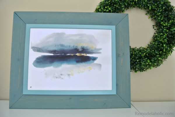 Free Printable Abstract Watercolor Seasons Set In A DIY IKEA Hack Blue Frame #remodelaholic