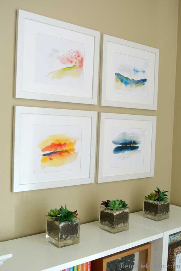 image about Free Printable Artwork to Frame known as Remodelaholic Printable Summary Watercolor Landscape Mounted