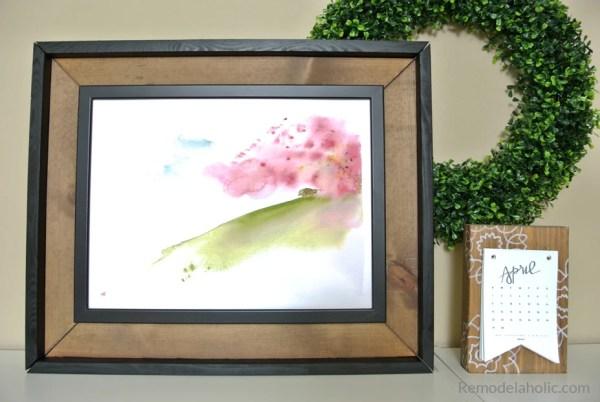 Free Printable Watercolor Seasonal Abstract For Spring In An Easy DIY IKEA FISKBO Hack Frame #remodelaholic
